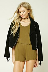 Forever 21 Mock Two Piece Romper Olive