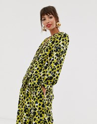 Closet Puff Sleeve Blouse In Lime Print Multi