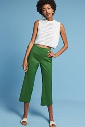 Anthropologie Linen Crop Flares Kelly