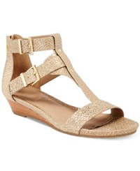 Kenneth Cole Reaction Women's Great Step Wedge Sandals Women's Shoes Soft Gold Metallic