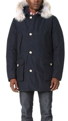 Woolrich Arctic Parka With Fur Collar Melton Blue