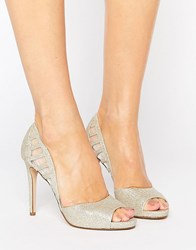 Faith Carbo Metallic Cut Out Heeled Shoes Silver