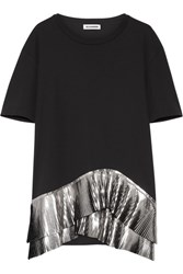 Jil Sander Pleated Metallic Trimmed Jersey Top Black