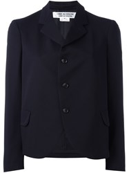 Comme Des Garcons Single Breasted Cropped Jacket Blue