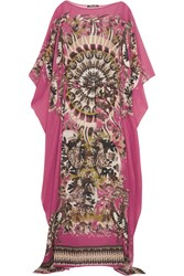 Roberto Cavalli Printed Silk Georgette Maxi Dress Fuchsia