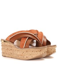 Chloe Camille Platform Suede And Leather Sandals Brown