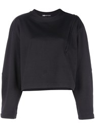 Y 3 Zip Detail Sweatshirt Black