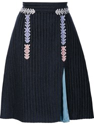 Peter Pilotto Velvet Striped Skirt Black