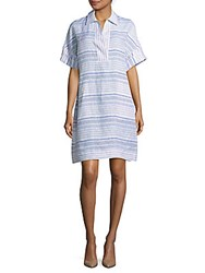 Lafayette 148 New York Mirta Short Sleeve Striped Dress Cerulean Multicolor