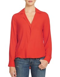 1.State Drape Front Blouse Poppy Red