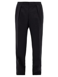 The Row Mark Pleated Tropical Wool Suit Trousers Dark Navy