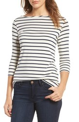 Amour Vert Francoise Stretch Jersey Top Marine Stripe