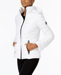 Nautica Stretch Hooded Packable Puffer Coat White
