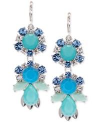 Nine West Silver Tone Blue Stone And Crystal Drop Earrings