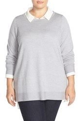 Plus Size Women's Eileen Fisher Ballet Neck Boxy Merino Jersey Sweater