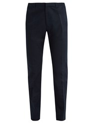 Berluti Straight Leg Cotton Blend Chino Trousers Navy