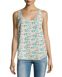 French Connection Scoop Neck Floral Print Tank Party Pink Multi