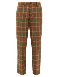 Connolly High Rise Checked Wool Trousers Brown Multi