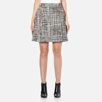 Boutique Moschino Women's Tweed Print Short Pleat Skirt With Buttons Black