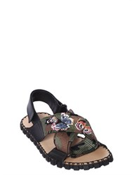 Valentino Butterfly Embroidered Crisscross Sandals