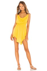 Indah Tahani Cowl Neck Dress Yellow