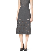 Michael Kors Embroidered Shetland Wool A Line Skirt Banker Grey