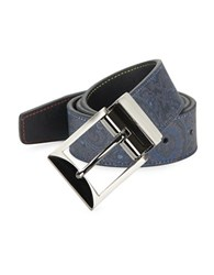 Tallia Orange Paisley Print Leather Belt Navy