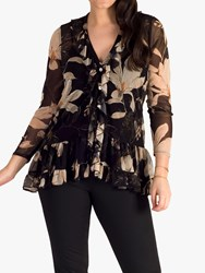 Chesca Floral Frilly Blouse Black Multi