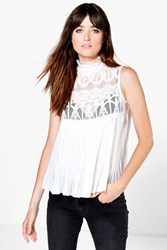 Boohoo High Neck Lace Sleeveless Pleated Blouse White
