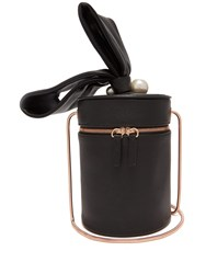 Sophia Webster Bonnie Pearl Leather Cylinder Bag Black