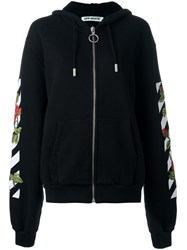 Off White Striped 'Roses' Print Hoodie Black