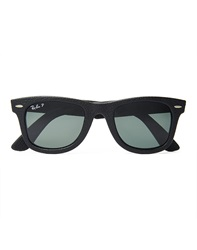 Ray Ban Wayfarer Leather Sunglasses With Polarised Lenses