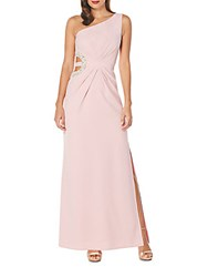 Laundry By Shelli Segal One Shoulder Embellished Gown Pink