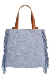 Sole Society Huxlee Canvas Tote Blue Navy Cream
