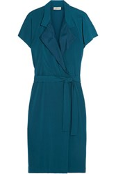 By Malene Birger Milly Silk Trimmed Stretch Crepe Wrap Dress Teal