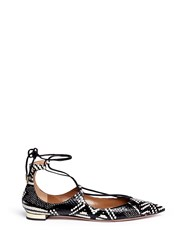 Aquazzura 'Christy' Lace Up Snakeskin Leather Flats Black