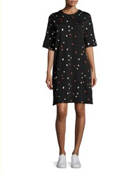 Grey Jason Wu Half Sleeve Embroidered Dash Shift Dress Black