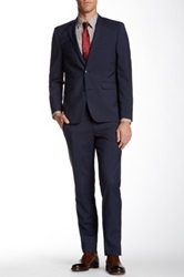 Vince Camuto Medium Blue Fine Graph Check Two Button Notch Lapel Wool Blend Suit