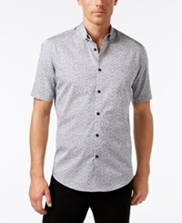 Alfani Men's Big And Tall Slim Fit Pattern Shirt Only At Macy's Smooth Silver