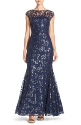 Women's Vera Wang Illusion Sequin Lace Mermaid Gown
