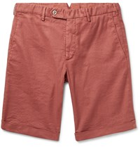 Zanella Chase Stretch Linen And Cotton Blend Shorts Red
