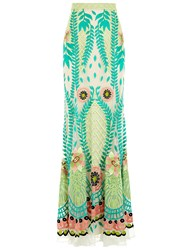Temperley London Multi Embroidered Tulle Long Skirt Green