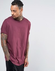 Asos Super Oversized Longline T Shirt With Roll Sleeve In Red Conker