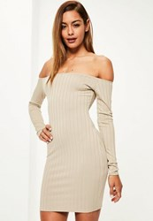 Missguided Nude Long Sleeve Thick Rib Bodycon Dress Beige