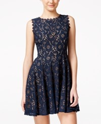 City Triangles City Studios Juniors' Lace Fit And Flare Dress Navy Nude