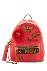 Mcm Stark Leather And Genuine Lamb Fur Insignia Backpack Red