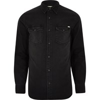 Jack And Jones River Island Mens Black Vintage Denim Shirt