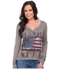 Rock And Roll Cowgirl Long Sleeve T Shirt Light Grey Women's T Shirt Gray