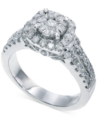 Effy Collection Bouquet By Effy Diamond Square Halo Ring In 14K White Gold 1 1 4 Ct. T.W.