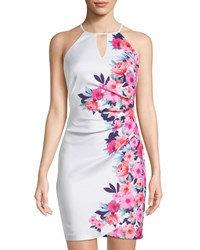 Guess Floral Halter Bodycon Dress Multi Pattern